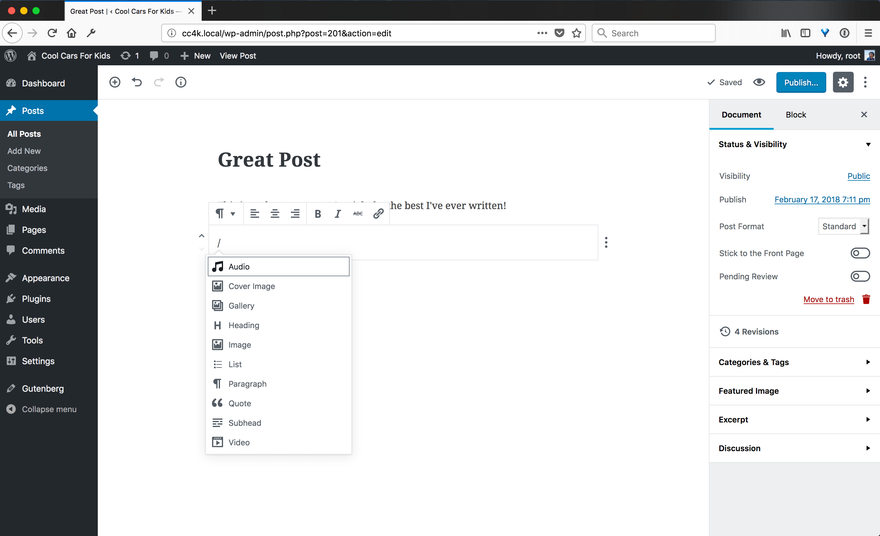 A screenshot of a mostly blank post in Gutenberg with the title