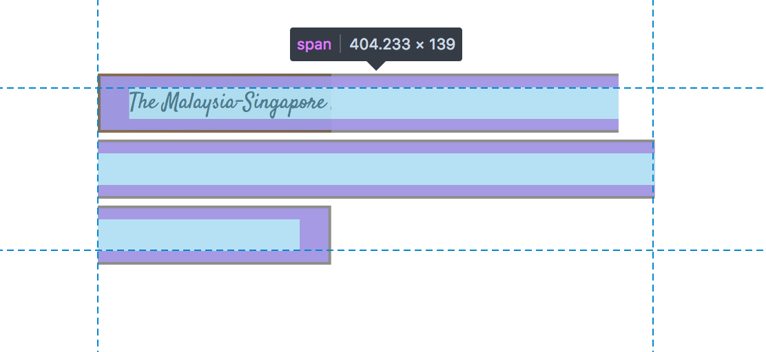 A screenshot of a span of text being highlighted in DevTools showing that text is all on one line but the span continues for three lines with even start points but uneven end points.