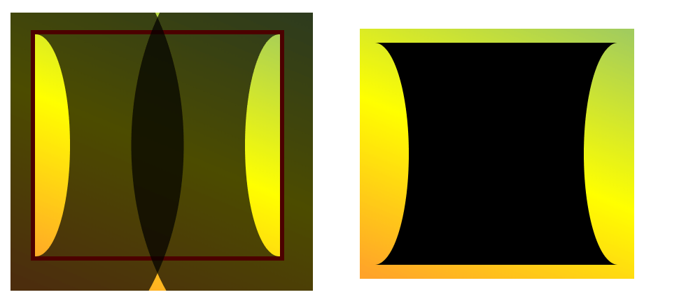 The same black box that is inwardly curved on the left and right sides, but with the curves blending in with the green-to-yellow background gradient.
