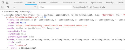The CSSStyleSheet Interface in the DevTools Console