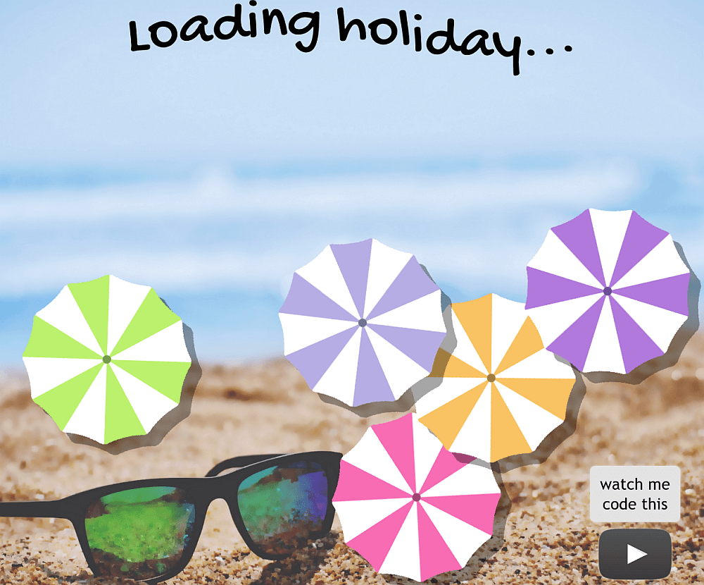 Screenshot. Shows a bunch of pastel umbrella shapes as if seen from above on top of the image of a beach.
