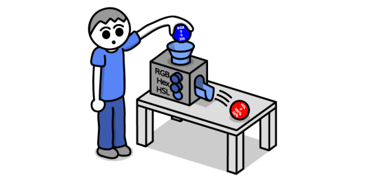 Balls with color values being inserted into a machine and coming out as HSL