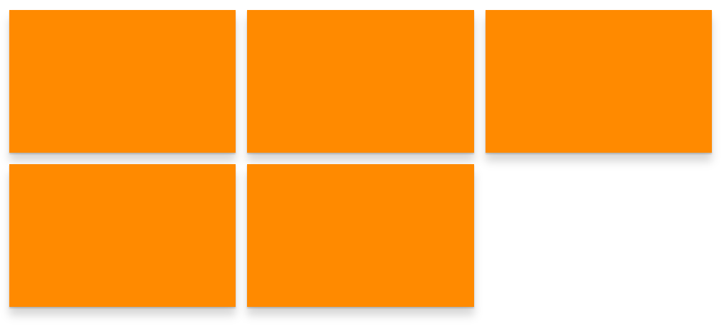 Five orange rectangles in two rows with three on the first row and two on the second row.