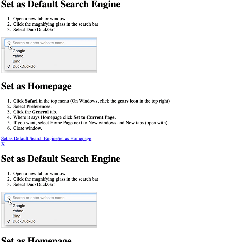 Instructions in Safari to set the search engine as your default or your homepage