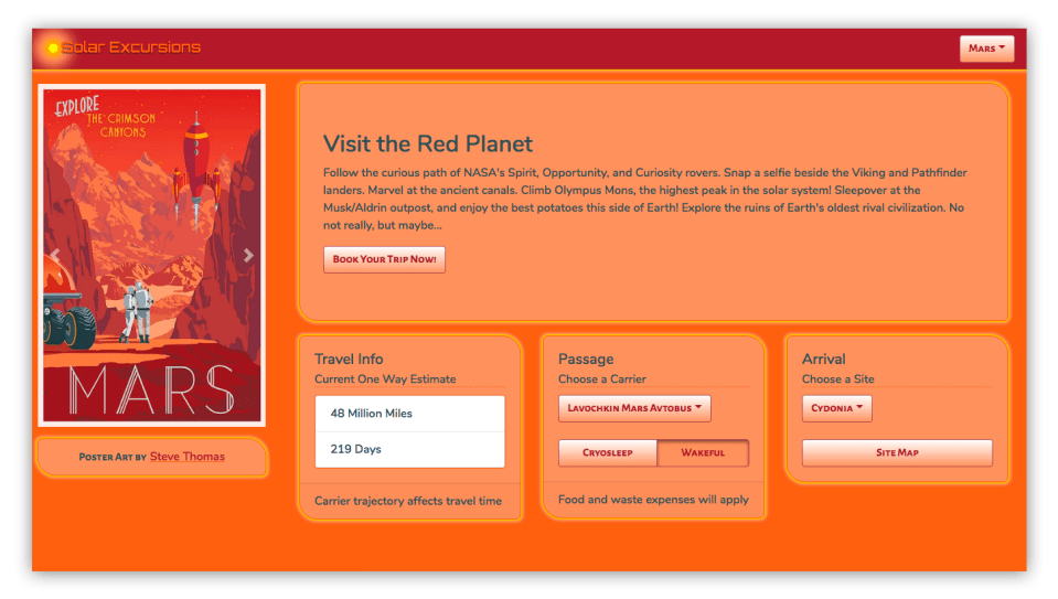 A more complete rendering of the landing page, this time using Mars as an example to show off a bright orange and red color theme. The interface components no longer look like they came directly from Bootstrap, but are still minimal in style, like dropdowns, buttons and text.