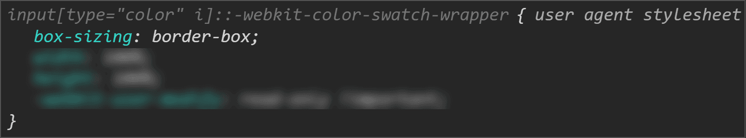 Chrome DevTools screenshot showing the box-sizing value for the swatch wrapper.
