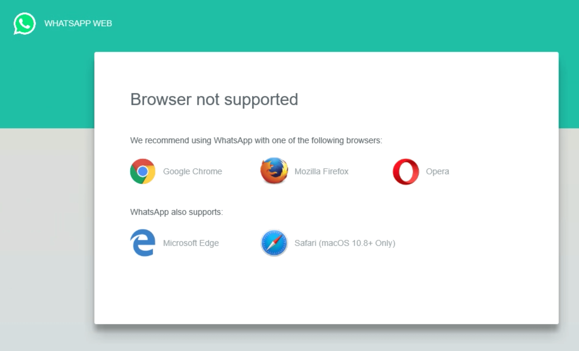 Whats App unsupported browser screen