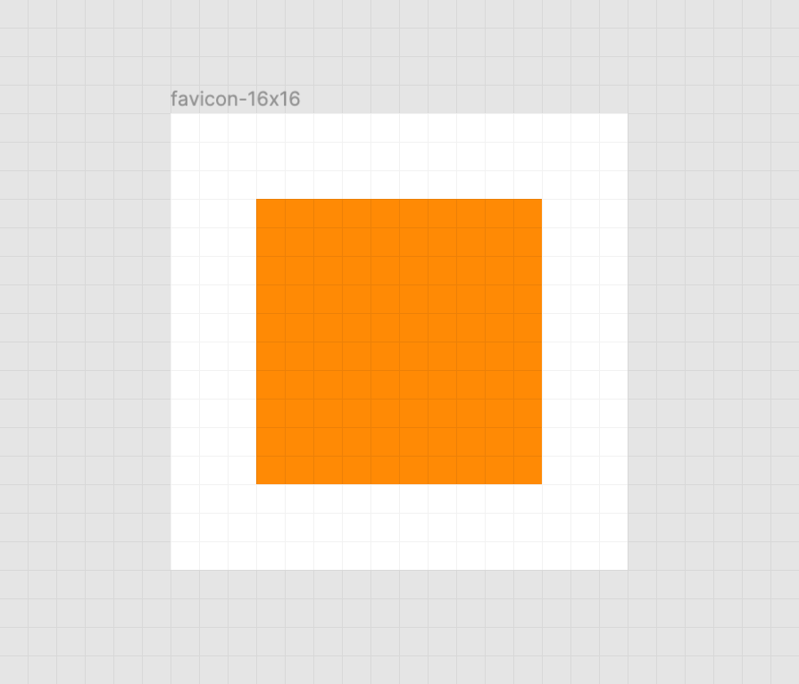 A crisp orange square on a white background. There is also a faint grid of gray horizontal and vertical lines that represent the pixel grid. Screenshot from Figma.