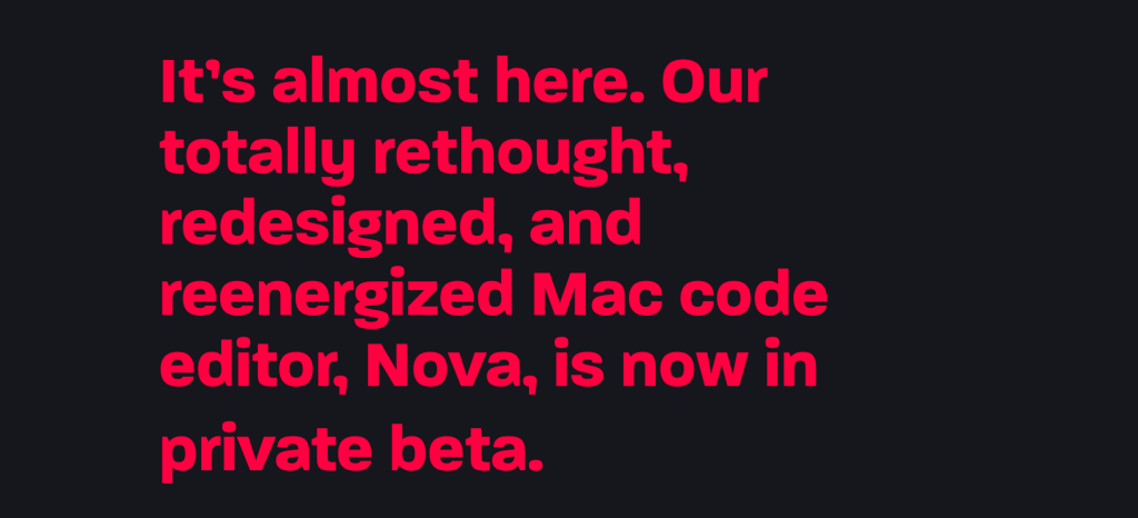Screenshot taken from the Panic website showing bright pink text against a stark black background.
