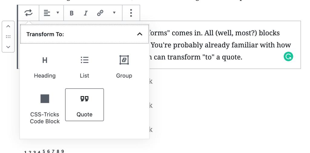 WordPress Block Transforms 3