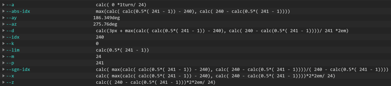 Screenshot. Shows how `calc()` expressions are presented in DevTools.