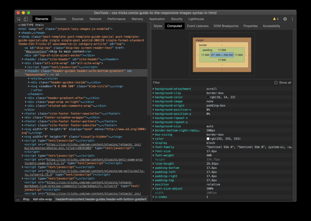 Screenshot of DevTools window for Chrome in dark mode.