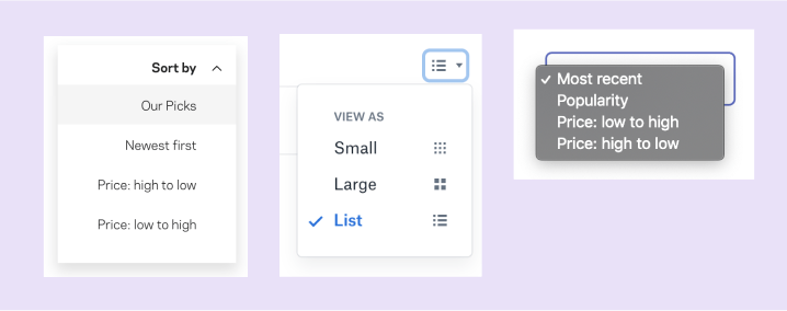 Three similar dropdowns that always have a selected option.