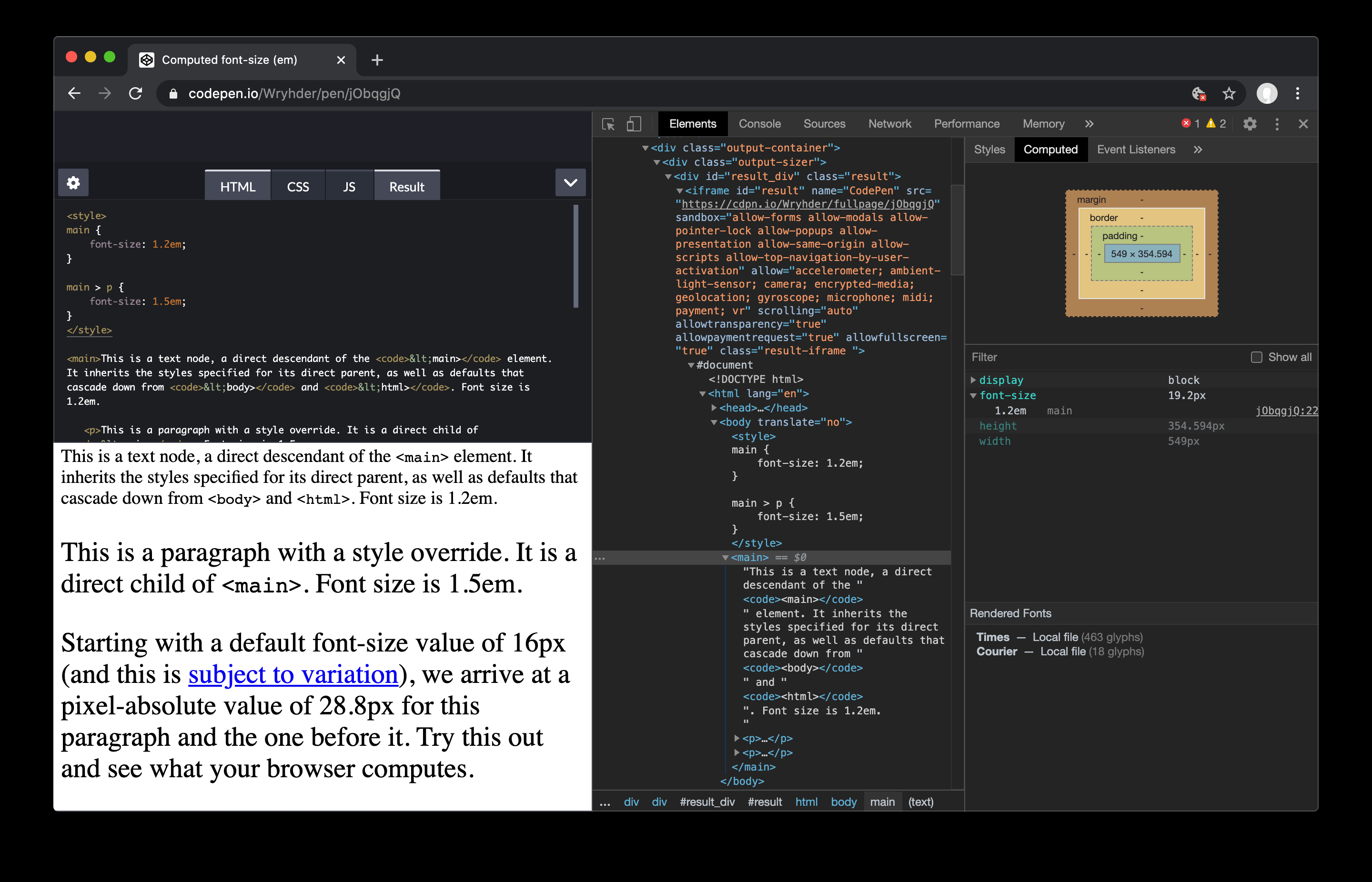 Screenshot of Chrome DevTools open to the Element view with Computed Properties open.
