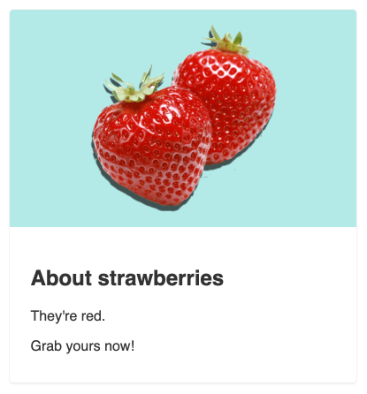 Screenshot. The same strawberry card but in a vertical format.