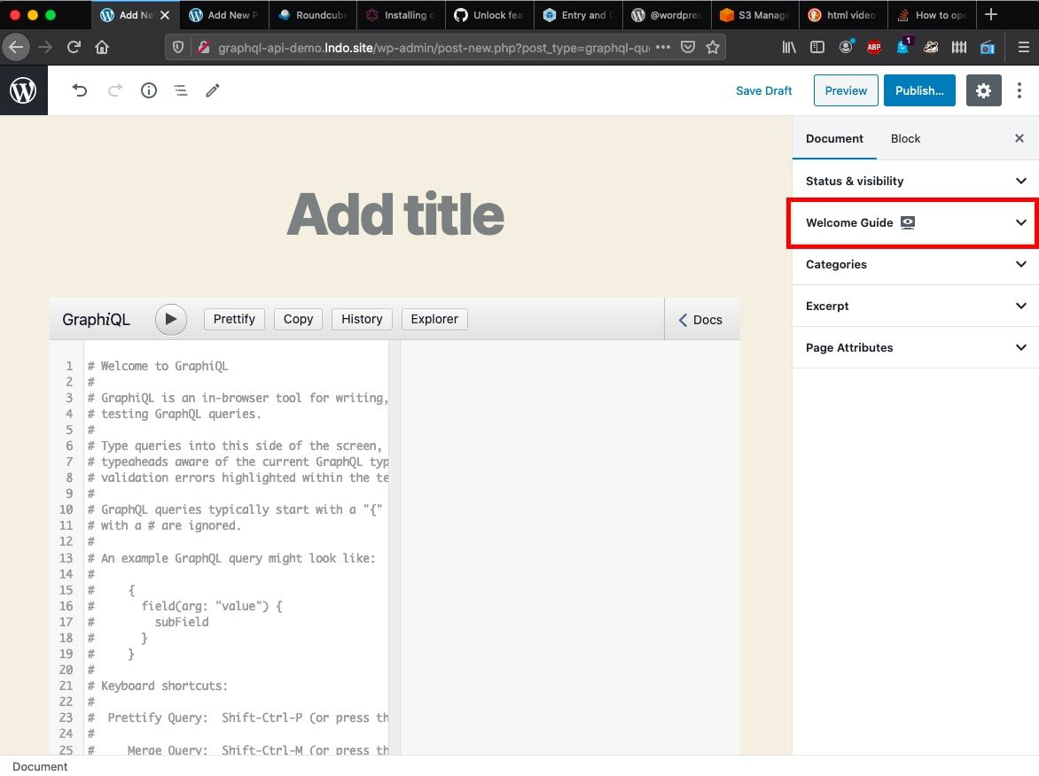 Screenshot showing the WordPress editor with the document settings panel open in the right column. a welcome guide tab is highlighted in the settings.