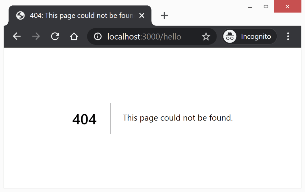 Screenshot of the 404 page. It says 404 This page could not be found.