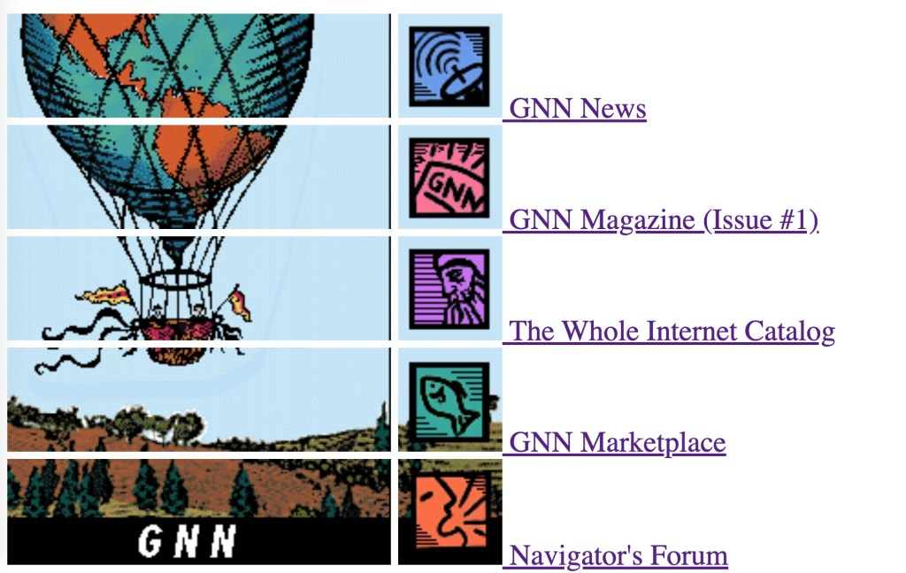 Screenshot of what GNN looked like when it launched in 1993, with its famous hot air balloon logo