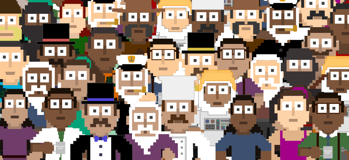 A crowd of 32 pixel-art characters from the previous demos facing the screen.
