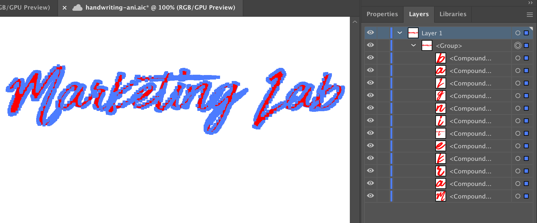 Showing the words Marketing Lab in red in Illustrator wrapped in blue vector points.