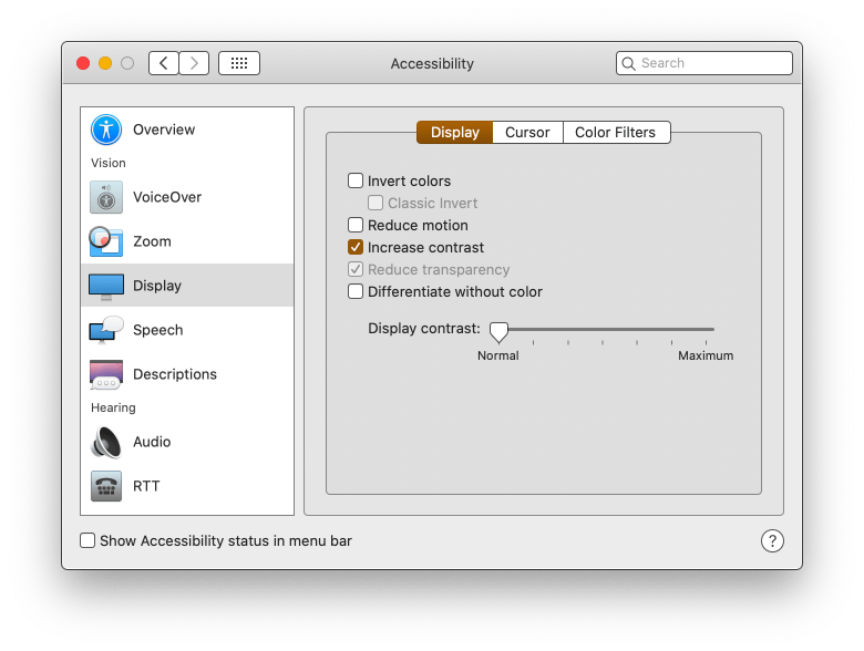 macos preference contrast