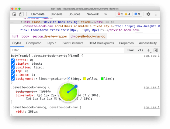 Chrome DevTools showing the styles associated with an element with a linear-gradient background with an angle.