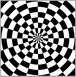 The desired black and white result, something like a XOR between the radial gradient generated ripples and the conic gradient generated rays.