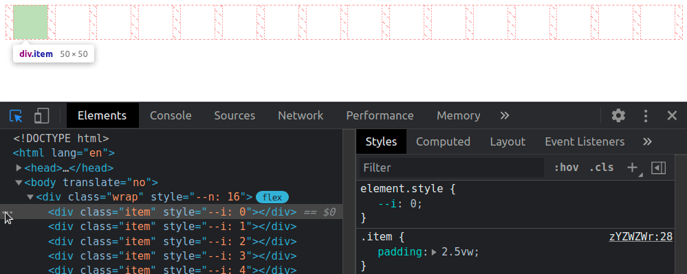 Screenshot showing the items lined in a row and DevTools with the HTML structure and the styles applied.