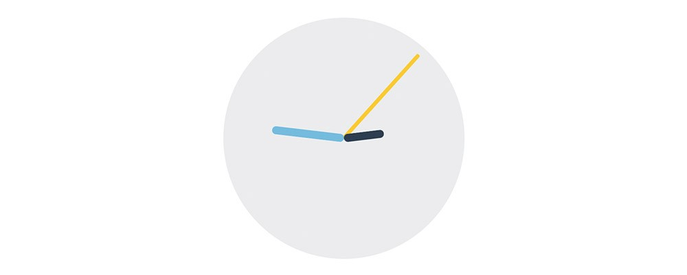 Image of a round clock with a light grey background. The hours hand is dark blue pointed at 2, the minutes are light blue pointed at 9 and the seconds are yellow and pointed at 2.