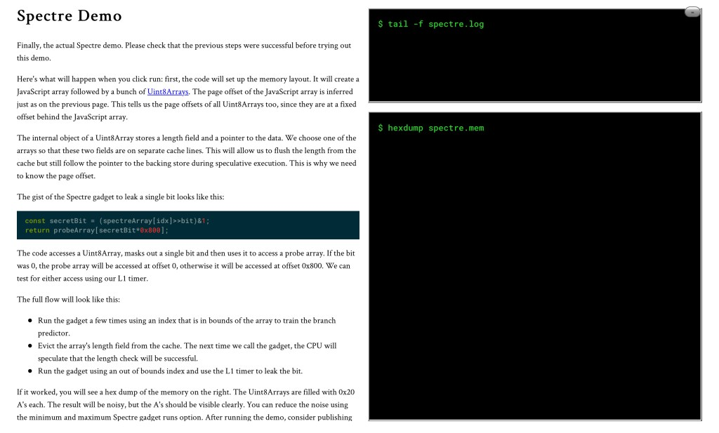 Text from the demo on the left side of the page and two black Germaine-looking code blocks on the right side with a black background and green text.