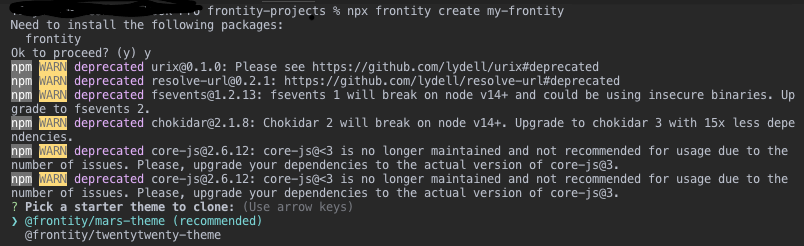 Screenshot of Frontity project creation using frontity create app CLI command