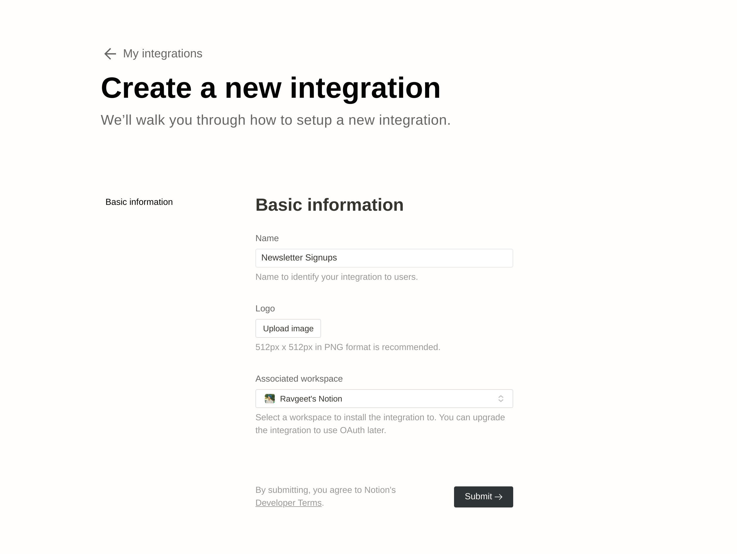 A plain white webpage for Notion integrations. It has a heading that says Create a new integration with form fields for name, logo, associated workspace, and a submit button.