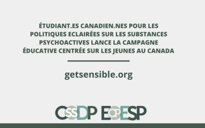 Étudiant.es Canadien.nes pour les Politiques Eclairées sur les Substances Psychoactives lance la Campagne éducative centrée sur les jeunes au Canada