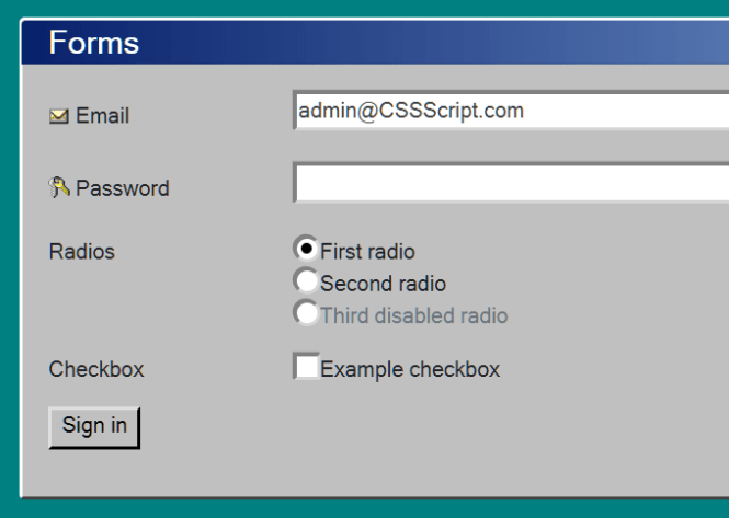Bootstrap 4 Win 95 Theme Form Fields