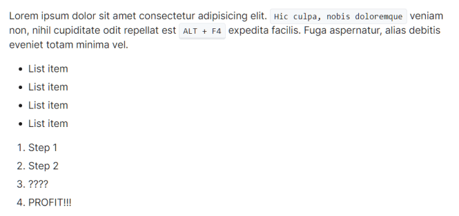 New.css Paragraph and Lists