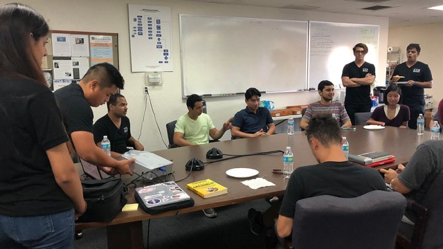 CSUF Entrepreneurship student club Sigma Upsilon Mu meeting at the CSUF Startup Incubator (Placentia) office