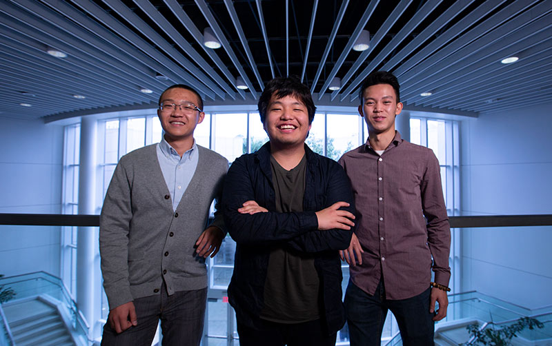 Three of the members of the University Innovation Fellows from Cal State Fullerton are, from left, Bing (Edward) Niu, William Kim and Phillip Law