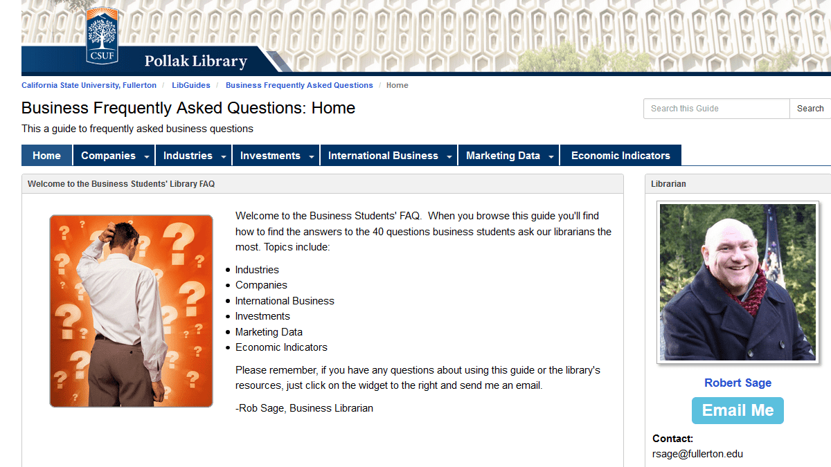 CSUF Library Business Frequently Asked Questions