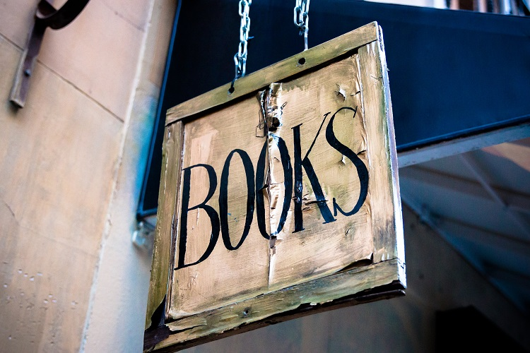 Wooden sign with the word books on it for CSuther blog