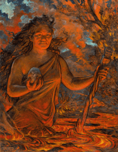 The painting of the goddess Pele exhibited in Hawai`i Volcanoes National Park's Visitor Center selected from dozens of paintings submitted by local artists to represent a more native view of the creator of the land. (Painting by Arthur Johnsen from Wild and Mcleod 2008 - IUCN UNESCO Best Practice Guidelines on Sacred Natural Sites)