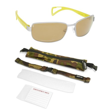 Zoinx Men Wrap Polarized Sunglasses Silver Frame-Amber Lens