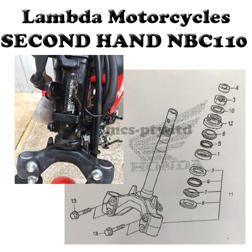 Second Hand steering stem triple tree for Honda NBC110