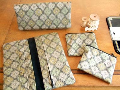 着物リメイク…長財布と小銭入れを製作