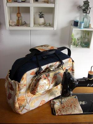 帯リメイクのご提案。柄を活かす事で大きなバッグとサブバッグを制作