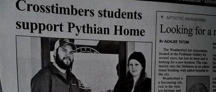 Crosstimbers Academy Students support Pythian Home Newspaper Article