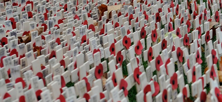 Remembrance Sunday Crosses and Poppies