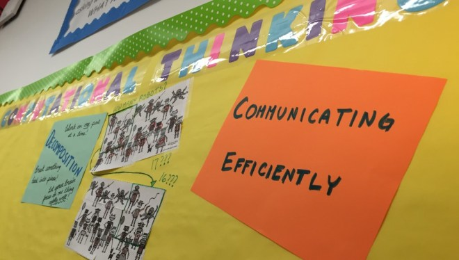 The Computational Thinking board featured prominently in Mr. Williams' classroom.