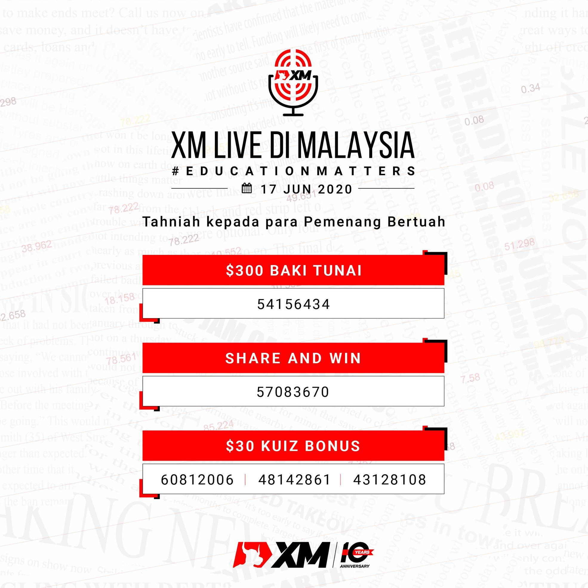 Pengumuman Pemenang XM Live di Malaysia