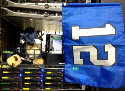While the Bates team attended the Wave 3 Kickoff, Brutus was stuck in the server room.