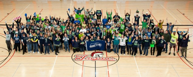 """Wow! Everett Community College sure has a large and enthusiastic ctcLink Team! Oh, wait...that's their Seahawks """"We're In!"""" photo."""